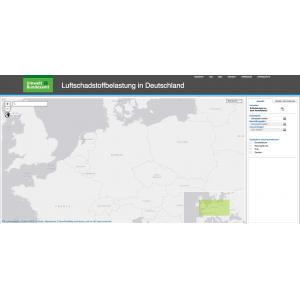 Frontpage der GISU Seite für Luftschadstoffbelastung in Deutschland