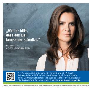 "Katarina Witt und Schriftzug ""Weil er hilft, dass das Eis langsamer schmilzt."", daneben das Logo ""Blauer Engel"""