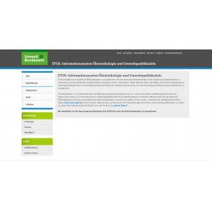 Startseite der Website ETOX zu ökotoxikologischen Daten und Qualitätsziele