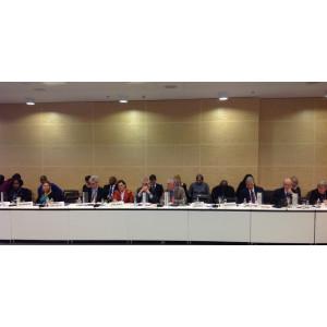 Jochen Flasbarth an einem großen Tisch in einer Besprechung mit Vertretern verschiedener Länder