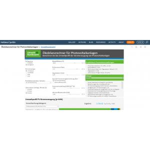 Screenshot der Startseite des Ökobilanzrechners für Photovoltaikanlagen
