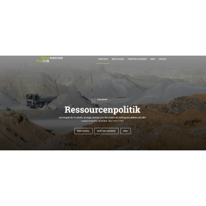 """Das Logo von www.ressourcenpolitik.de ist ein grau-grüner Schriftzug """"Ressourcen-Politik"""""""