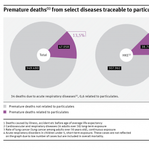 From 349.480 premature deaths, 47.058 (13,5%) are due to particulate matter exposure. Within these 307.961 (total) and 38.742 (due to particulate matter) are cardiovascular and respiratory deseases. 41.485 respectively 8.316 are lung cancer diseases..