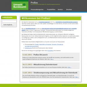 Startseite der Website für prozessoptimierte Basisdaten für Umweltmanagement-Instrumente (Probas)