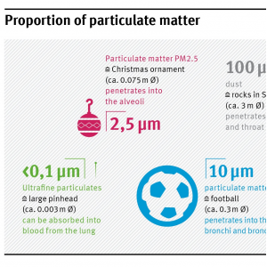 PM2,5 is in relation to other particulates as big as an christmas ornament (ca. 0,075m diameter). PM10 is as big as a football (ca. 0,3 m diameter). Dust is as big as 3-meter rock, Ultrafine particulates as big as a large pinhead