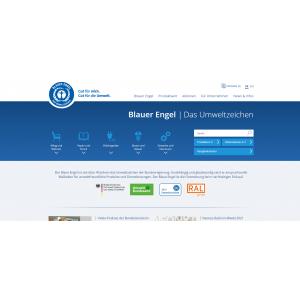 Startseite der Website zum Umweltzeichen Blauer Engel