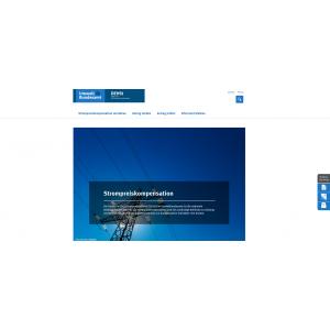 Startseite der Website Strompreiskompensation mit einem Foto einer Hochspannungsleitung