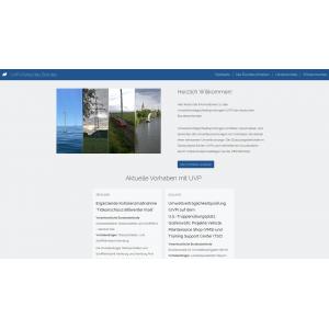 Startseite des UVP-Portals des Bundes mit einer Foto-Collage: ein geplanter Windpark auf See, eine Hochspannungstrasse, ein Schienenweg und eine Wasserstraße