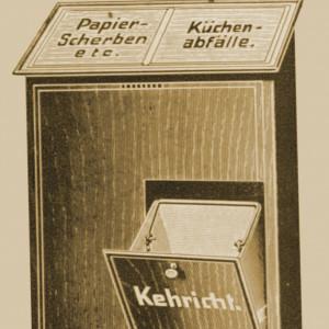 Kombination von drei Eimern in einem für Papier, Küchenabfälle und Kehricht