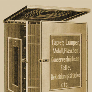 Container für Papier, Lumpen, Metalll und anderen Abfall, Deckel geöffnet
