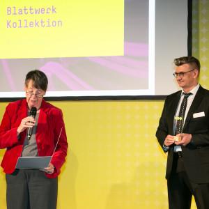 Bundespreis Ecodesign 2014 Dr. Barbara Hendricks verliest die Urkunde für den Preisträger Blattwerk