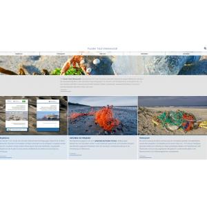 """Startseite der Website """"Runder Tisch Meeresmüll"""" mit einem Foto einer Strandkrabbe, die in einer kaputten Plastikflasche am Strand sitzt"""