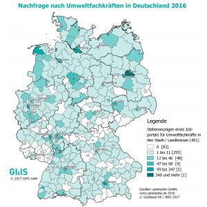 Deutschlandkarte mit Stellenanzeigen im Umweltbereich