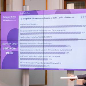 Befragungsergebnisse sind vorwiegend in lila Farbtönen auf einer Tafel in Balkenformat abgebildet