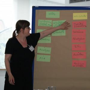 Teilnehmerin zeigt an einer Moderationswand auf einzelne Moderationskarten.