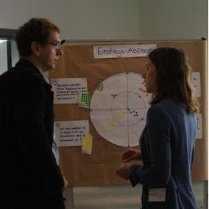 Zwei Teilnehmer stehen vor einer Moderationswand und sprechen miteinander. Die Moderationswand zeigt Ergebnisse um die Einstiegsfrage an anhand von Bewertungspunkten und beschrifteten Moderationskarten.