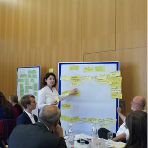 Teilnehmende zeigt auf die Präsentationswand. An der Präsentationswand hängen gelbe Moderationskarten. Die Teilnehmenden sitzen am Tisch und betrachten nachdenklich die Präsentationwand.