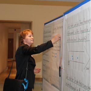 Teilnehmerin klebt Farbpunkte auf beschriftetes Papier an Moderationswand. Im Hintergrund geht der Blick durch die offene Tür in den Flur.