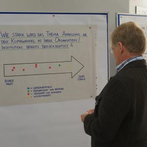 Teilnehmer betrachtet eine Pfeil Graphik an Moderationswand zum Thema: Wie stark wird Anpassung an den Klimawandel in der eigenen Organisation bereits berücksichtigt.