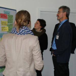 Teilnehmer stehen vor einem Flipchart und schauen auf farbige und beschriftete Moderationskarten.