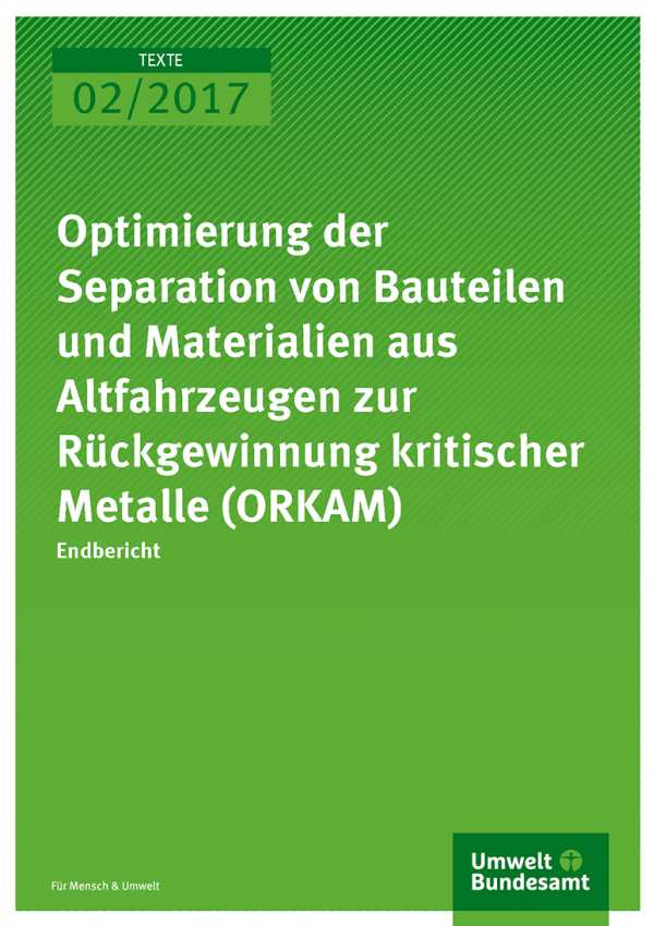 Cover der Publikation: Optimierung der Separation von Bauteilen und Materialien aus Altfahrzeugen zur Rückgewinnung kritischer Metalle (ORKAM)