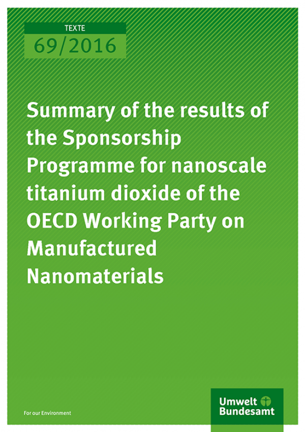 Cover der Publikation Summary of the results of the Sponsorship Programme for nanoscale titanium dioxide of the OECD Working Party on Manufactured Nanomaterials