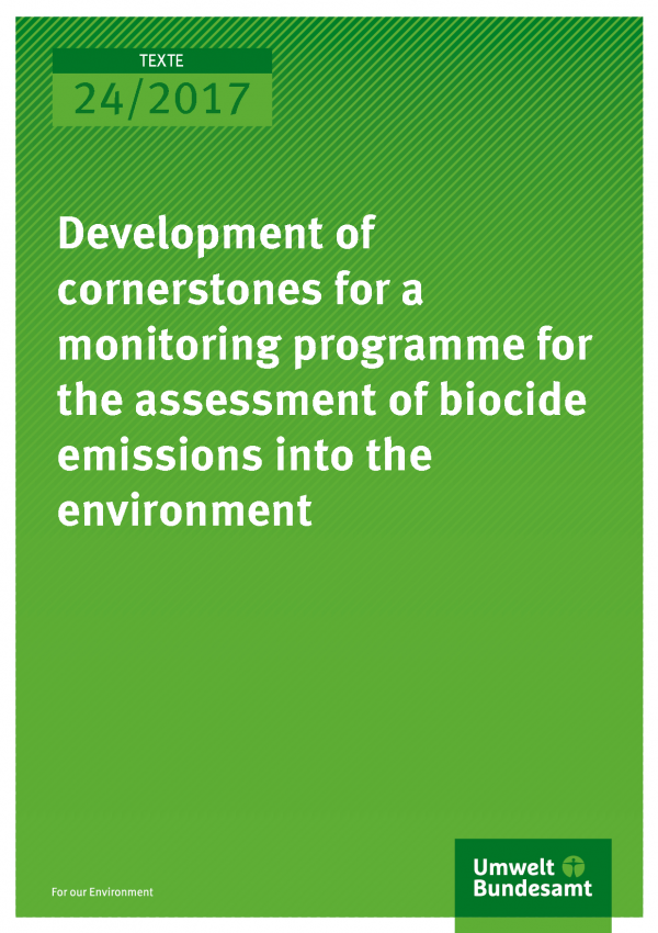 Cover of publication Texte 24/2017 Development of cornerstones for a monitoring programme for the assessment of biocide emissions into the environment