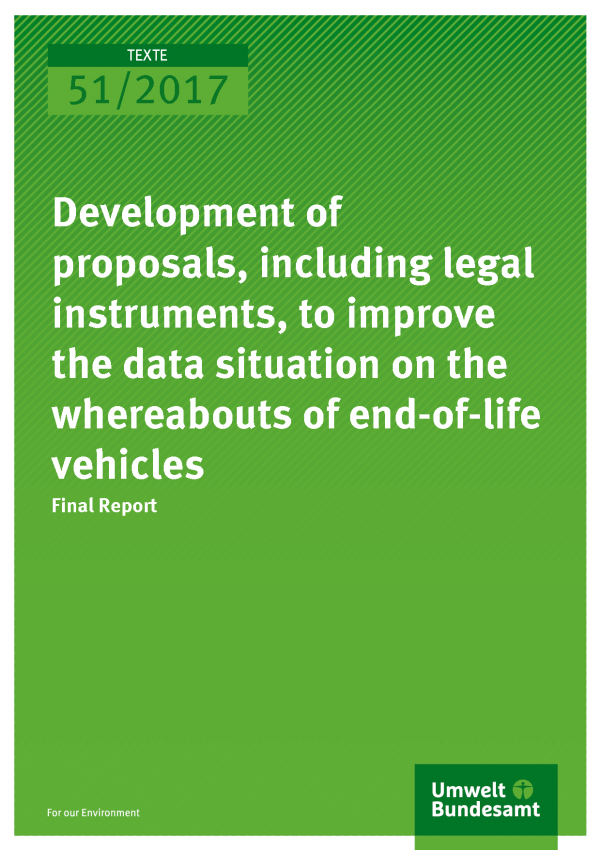 Cover of publication 51/2017 Development of proposals, including legal in-struments, to improve the data situation on the whereabouts of end-of-life vehicles