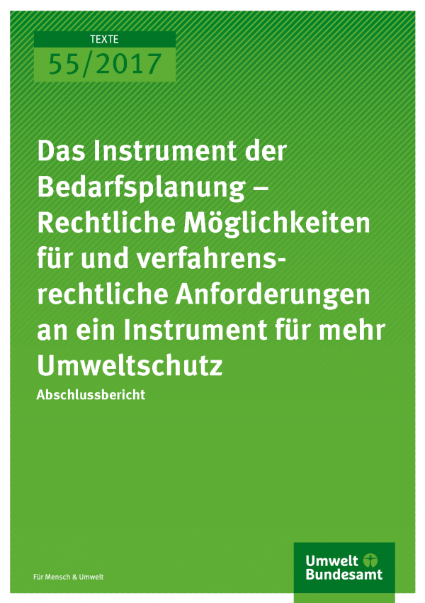Titelseite der Publikation 55/2017 Das Instrument der Bedarfsplanung – Rechtliche Möglichkeiten für und verfahrensrechtliche Anforderungen an ein Instrument für mehr Umweltschutz
