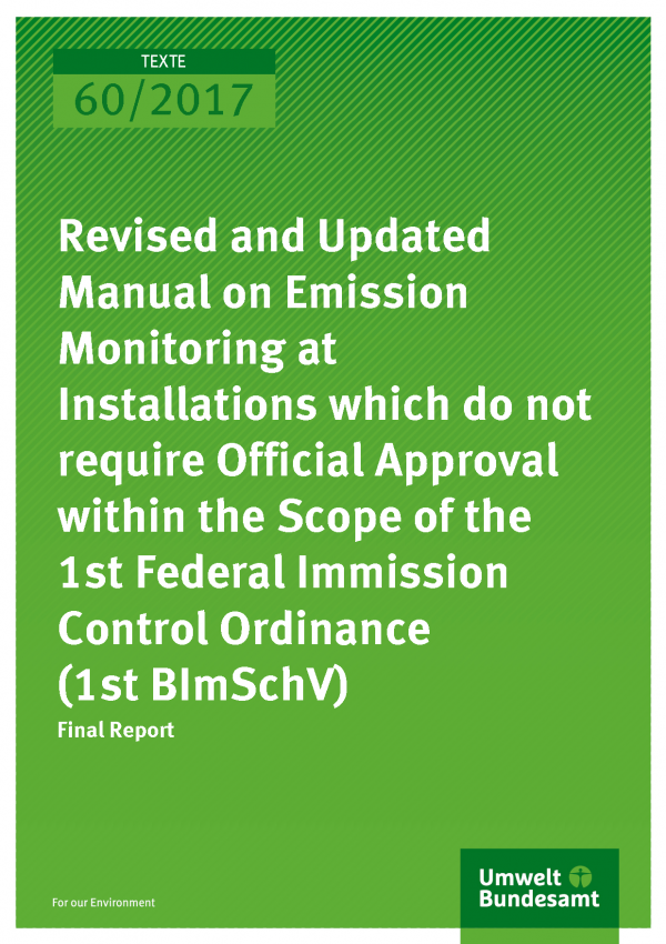 Cover of publication 60/2017 Revised and Updated Manual on Emission Monitoring at Installations which do not require Official Approval within the Scope of the 1st Federal Immission Control Ordinance (1st BImSchV)