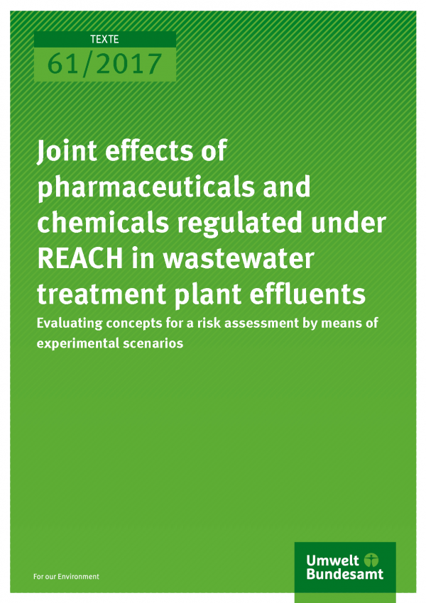Cover of publication 61/2017 Joint effects of pharmaceuticals and chemicals regulated under REACH in wastewater treatment plant effluents – Evaluating concepts for a risk assessment by means of experimental scenarios