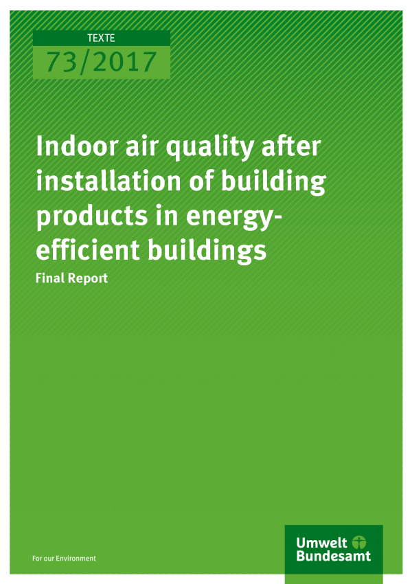 Cover of publication 73/2017 Indoor air quality after installation of building products in energy-efficient buildings