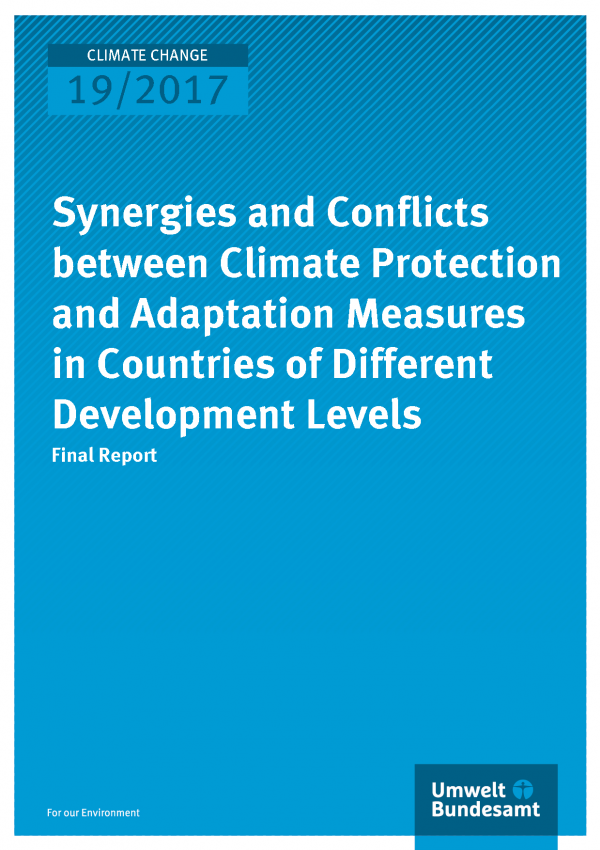 Cover of publication Climate Change 19/2017 Synergies and Conflicts between Climate Protection and Adaptation Measures in Countries of Different Development Levels