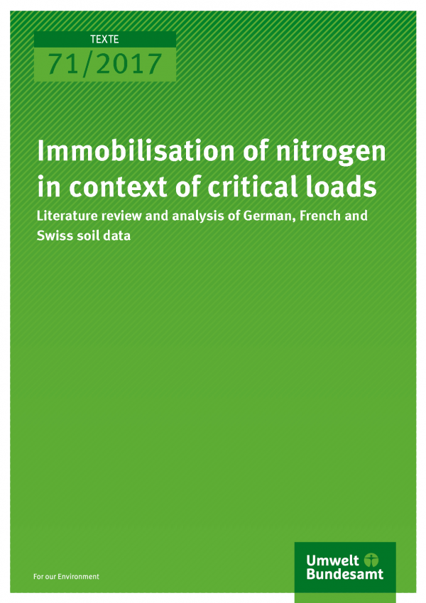 Cover of publication Texte 71/2017 Immobilisation of nitrogen in context of critical loads