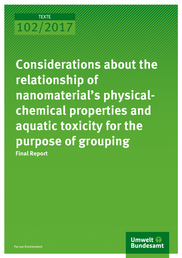 Cover of publication Texte 102/2017 Considerations about the relationship of nanomaterial's physical-chemical properties and aquatic toxicity for the purpose of grouping