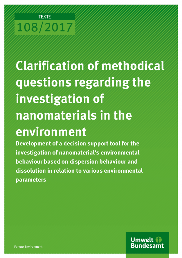 Cover der Publikation Texte 108/2017 Clarification of methodical questions regarding the investigation of nanomaterials in the environment