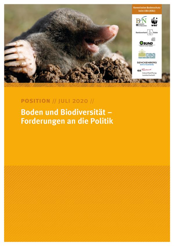 Cover des Positionspapiers Boden und Biodiversität – Forderungen an die Politik
