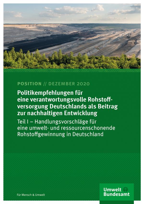 Cover des Positionspapiers Politikempfehlungen für eine verantwortungsvolle Rohstoffversorgung Deutschlands als Beitrag zur nachhaltigen Entwicklung