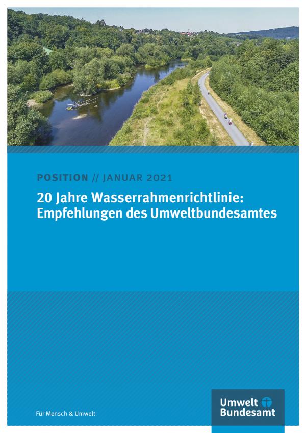 Cover des Positionspapiers 20 Jahre Wasserrahmenrichtlinie: Empfehlungen des Umweltbundesamtes