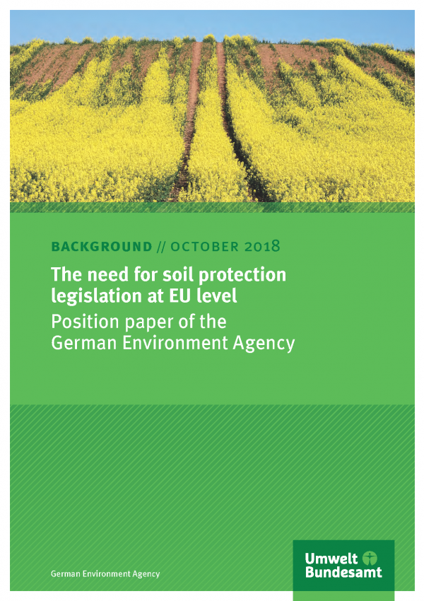 Cover of publication The need for soil protection legislation at EU level