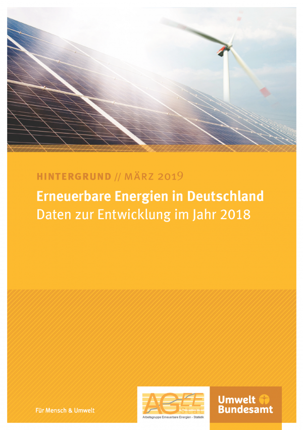 Cover des Hintergrundpapiers Erneuerbare Energien in Deutschland: Daten zur Entwicklung im Jahr 2018