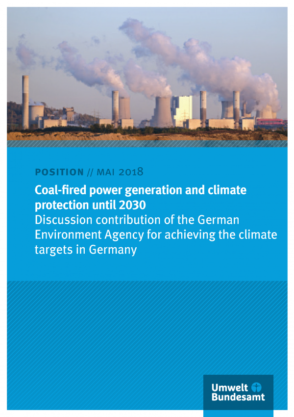 Cover of publication Postion Mai 2018 Coal-fired power generation and climate protection until 2030