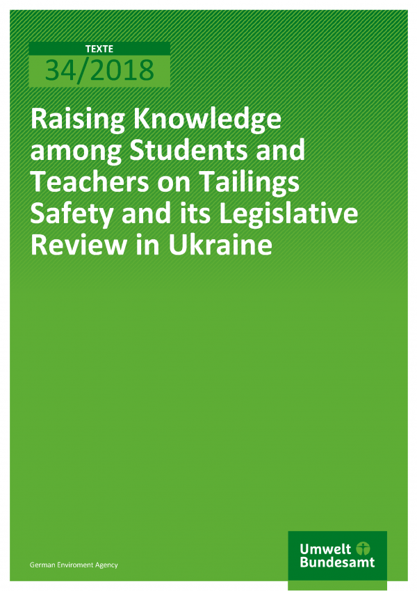 Cover der Publikation Texte 34/2018 Raising Knowledge among Students and Teachers on Tailings Safety and its Legislative Review in Ukraine