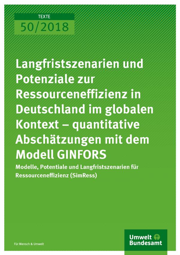 Cover der Publikation Texte 50/2018 Langfristszenarien und Potenziale zur Ressourceneffizienz in Deutschland im globalen Kontext – quantitative Abschätzungen mit dem Modell GINFORS