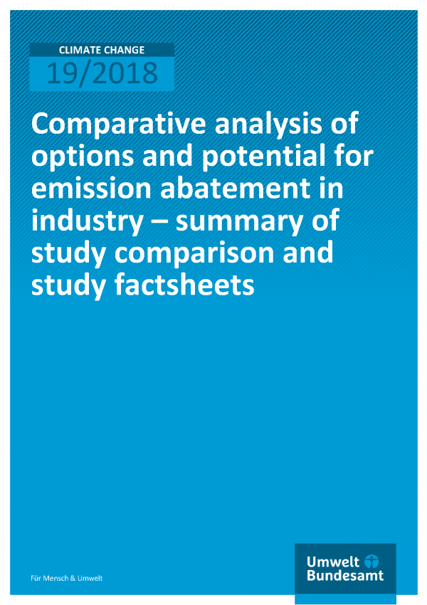 Cover of publication Climate Change 19/2018 Comparative analysis of options and potential for emission abatement in industry –summary of study comparison and studyfactsheets