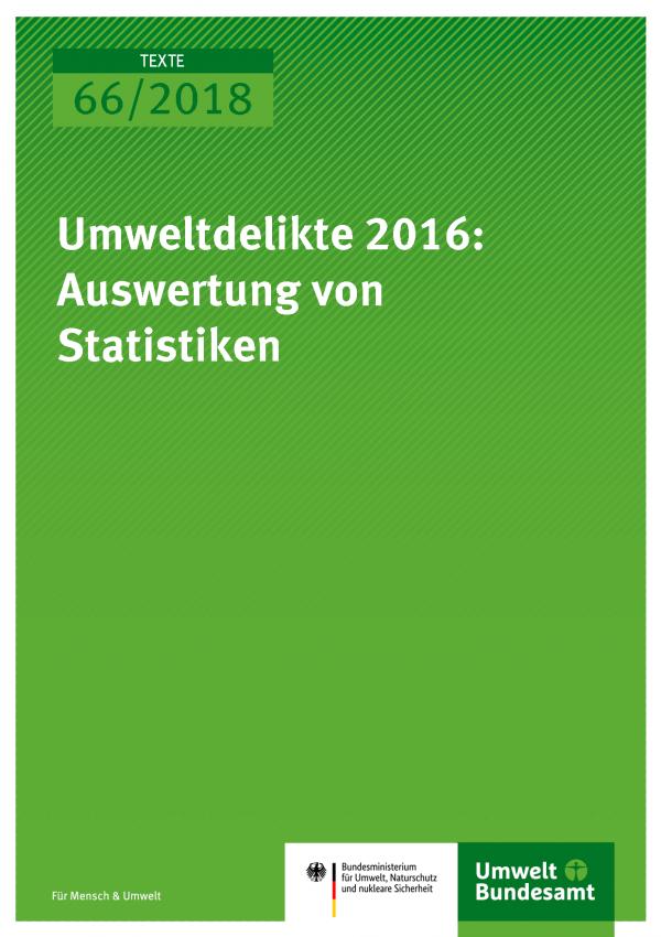 Cover der Publikation Texte 66/2018 Umweltdelikte 2016: Auswertung von Statistiken
