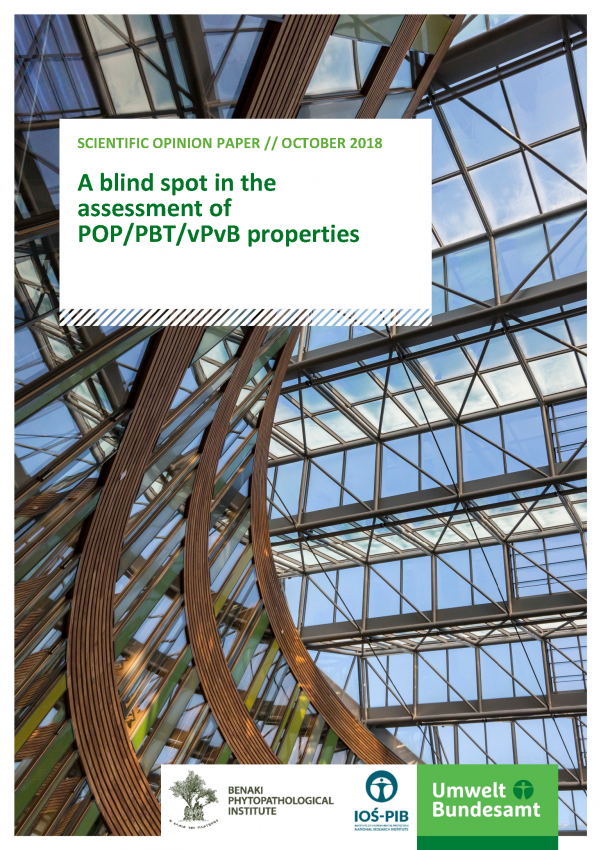 Cover of publication SOP A blind spot in the assessment of POP/PBT/vPvB properties