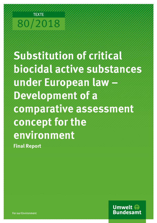 Cover of publication Texte 80/2018 Substitution of critical biocidal active substances under European law - Development of a comparative assessment concept for the environment