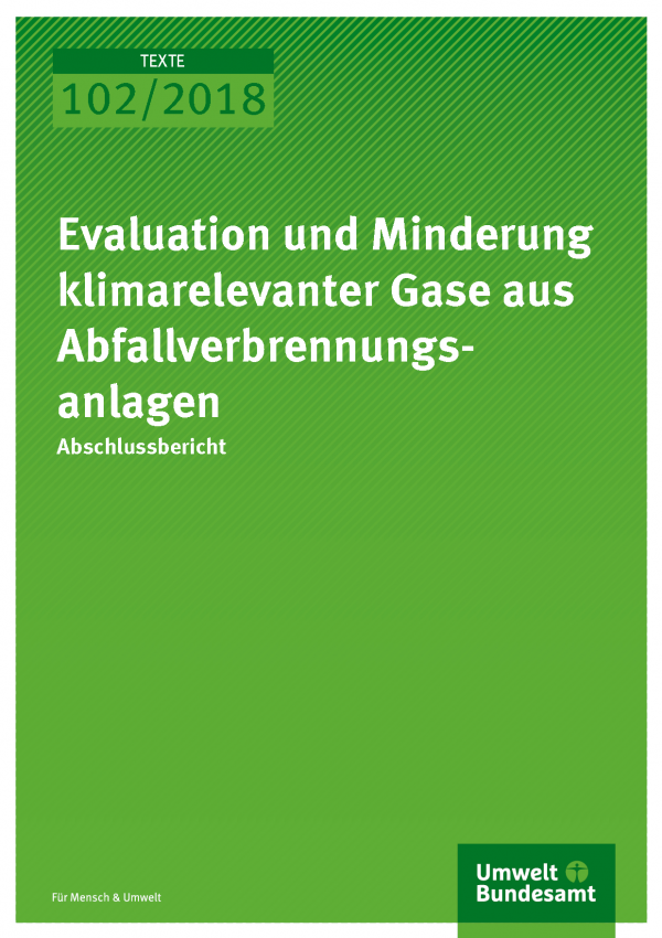 Cover der Publikation Texte 102-2018 Evaluation und Minderung klimarelevanter Gase aus Abfallverbrennungsanlagen