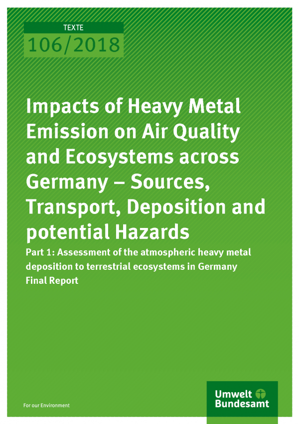 Cover der Publikation Texte 106/2018 Impacts of Heavy Metal Emission on Air Quality and Ecosystems across Germany – Sources, Transport, Deposition and potential Hazards